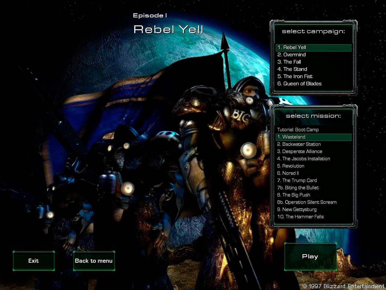 Экран выбора миссии