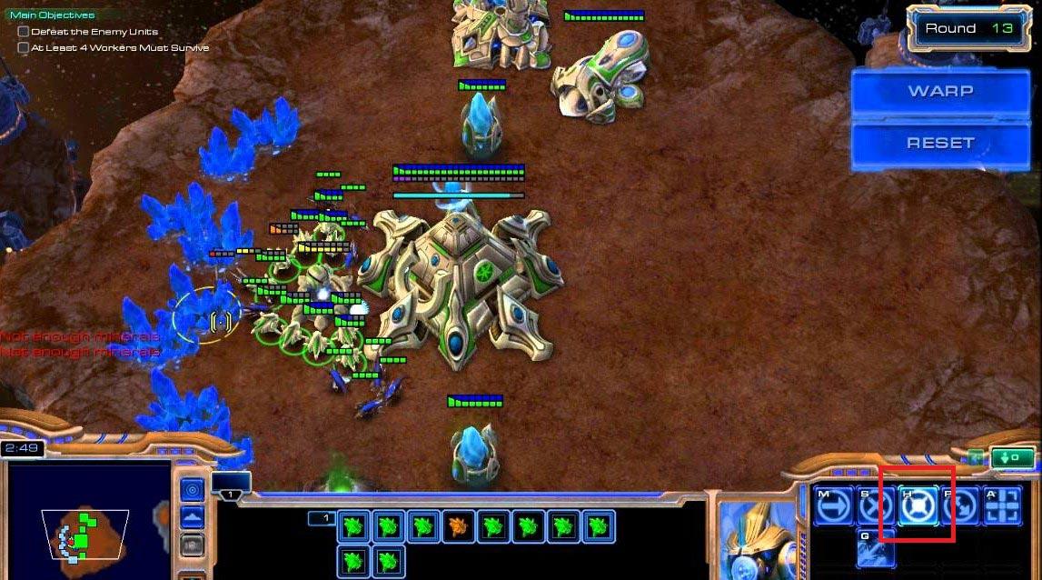 Иллюстрация №15: Уровень «Hold position» в тренировочной карте «StarCraft Master»