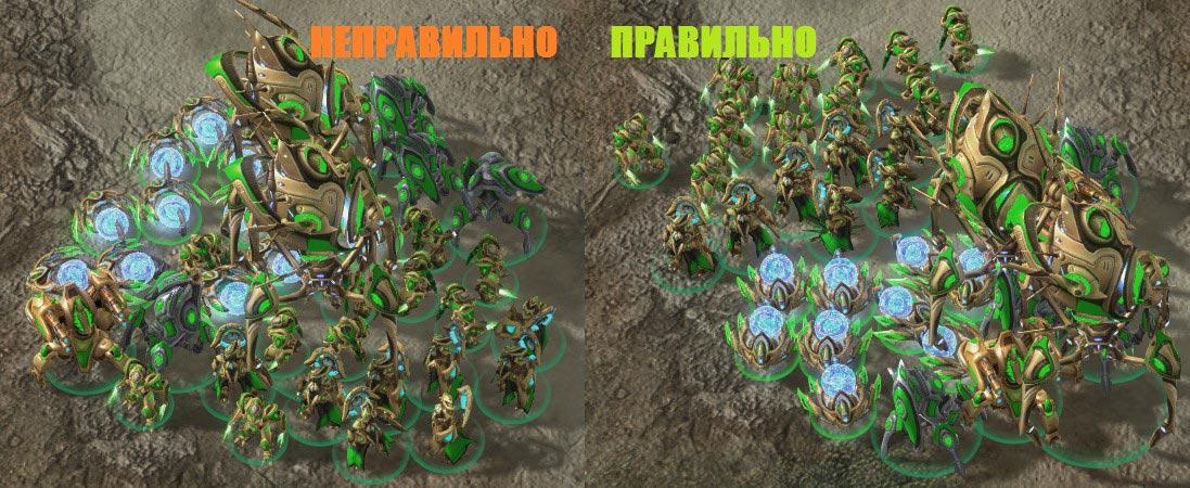 Иллюстрация №17: Расположение армии при атаке на соперника, находящегося слева сверху
