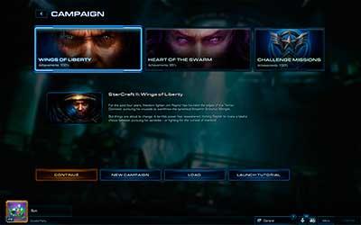 Экран выбора кампании в StarCraft 2 Heart of the Swarm