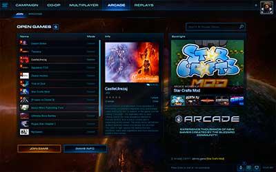 Интерфейс Игротеки в StarCraft 2 Legacy of the Void