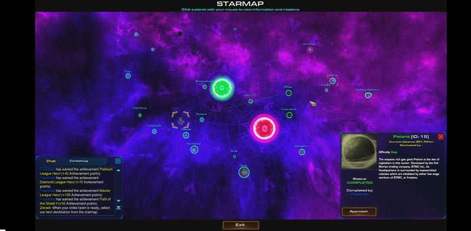 Звездная карта со списком локаций StarCraft Universe